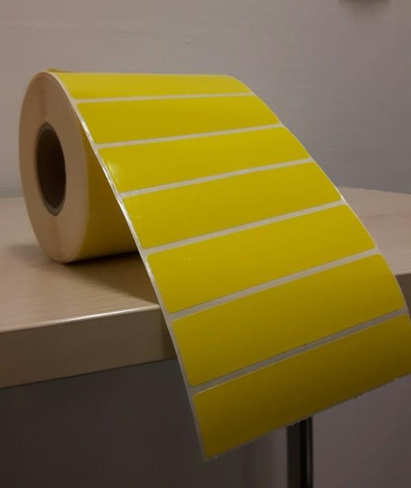 Hyllkantsetikett, gul, 100 x 25 mm, DT, 1.500/rulle, perf.
