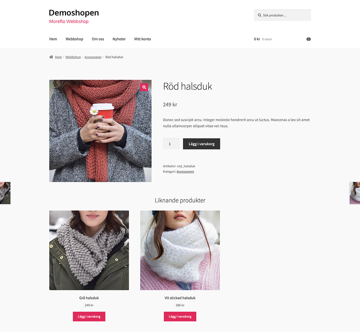 MoreFlo Webbshop - Produktsida