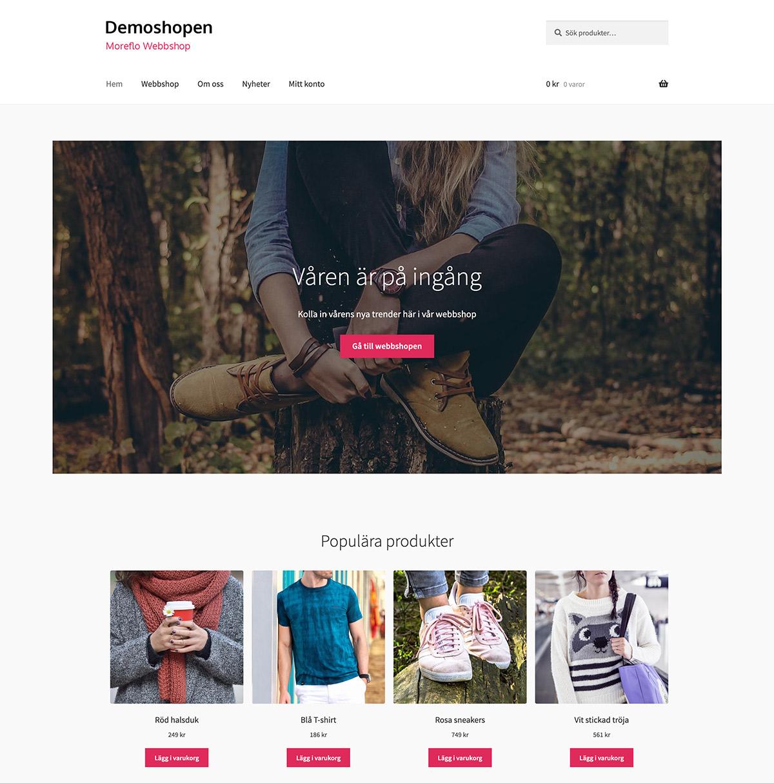 MoreFlo Webbshop - Startsida